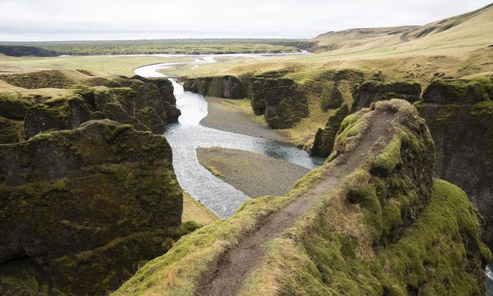 A cliff at the Fjadrárgljúfur canyon in southeastern Iceland on May 1, 2019. (Egill Bjarnason/Photo via AP)