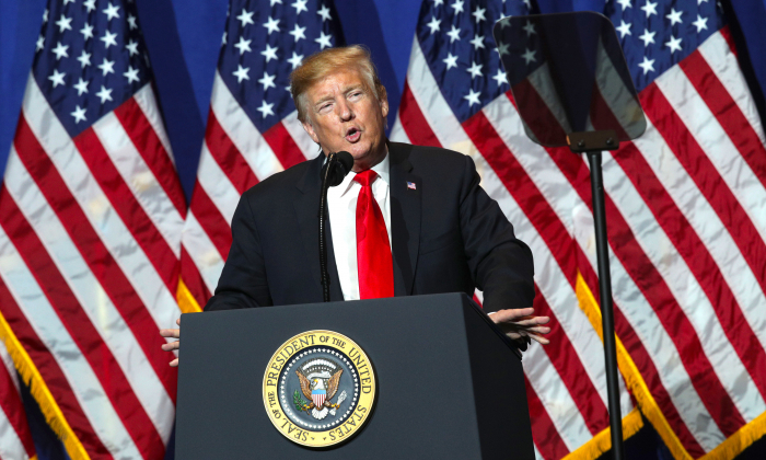 President Donald Trump addresses the National Association of Realtors Legislative Meetings Trade Expo May 17, 2019 in Washington. (Alex Wong/Getty Images)