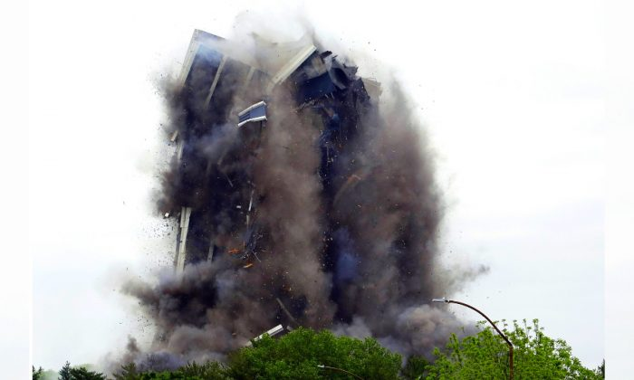 Martin Tower, former world headquarters of Bethlehem Steel, implodes in Bethlehem, Pa., on May 19, 2019. (Jacqueline Larma/Photo via AP)
