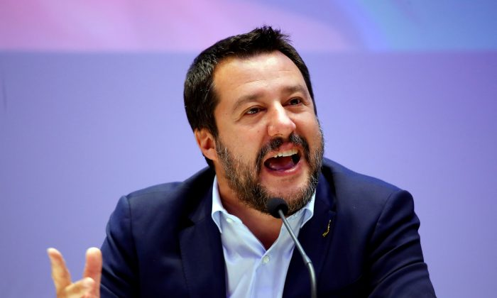 Matteo Salvini, Italy's Deputy Prime Minister and leader of the far-right League Party, speaks as he launches campaigning for the European elections, in Milan, Italy on April 8, 2019. (Alessandro Garofalo/Reuters)
