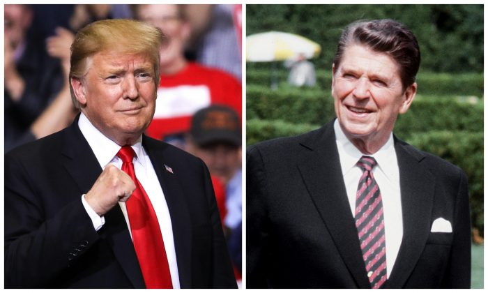 President Donald Trump (L) at a MAGA rally in Grand Rapids, Mich., on March 28, 2019, and President Ronald Reagan in Ottawa, Canada, on July 18, 1981. (Charlotte Cuthbertson/The Epoch Times and GEORGES BENDRIHEM/AFP/Getty Images)