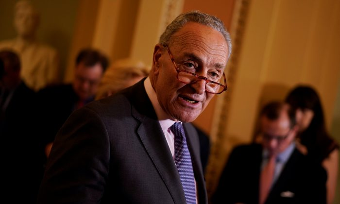 Senate Minority Leader Chuck Schumer speaks with reporters following the weekly policy luncheons on Capitol Hill in Washington on May 7, 2019. (Aaron P. Bernstein/Reuters)