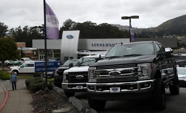 Ford cars and trucks on the sales lot at Serramonte Ford in Colma