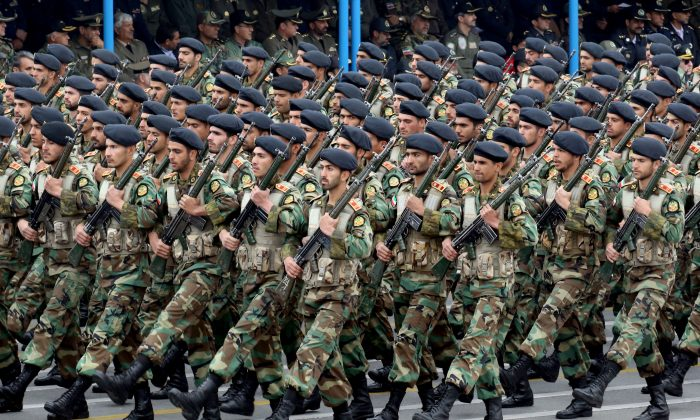 Iranian soldiers march during a military parade Tehran, on April 18, 2019 (AFP/Getty Images)