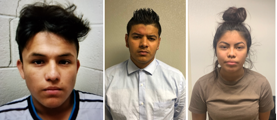 L-R: Murder suspects Josue Rafael Fuentes-Ponce, 16; Joel Ernesto Escobar, 17; and Cynthia Hernandez-Nucamendi, 14, were arrested by Prince George's County Police on May 16, 2019. (Courtesy of PGCPD)