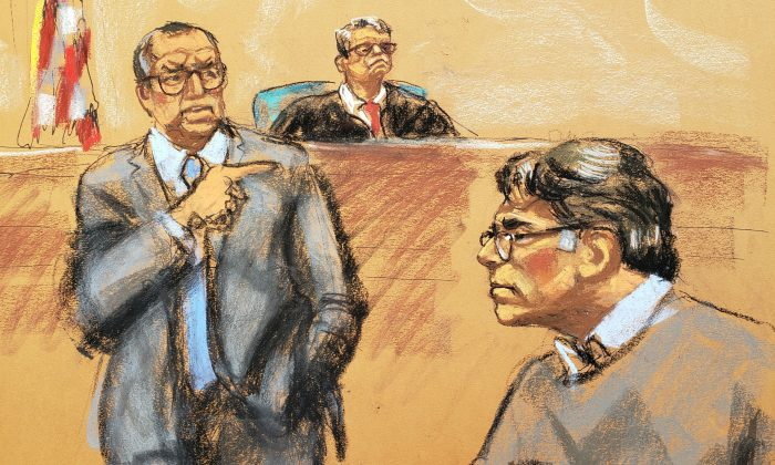 Defense attorney Marc Agnifilo (L) points in the direction of Keith Raniere, in this courtroom sketch, at the Brooklyn Federal Courthouse in New York, on May 7, 2019. (Jane Rosenberg/Reuters)