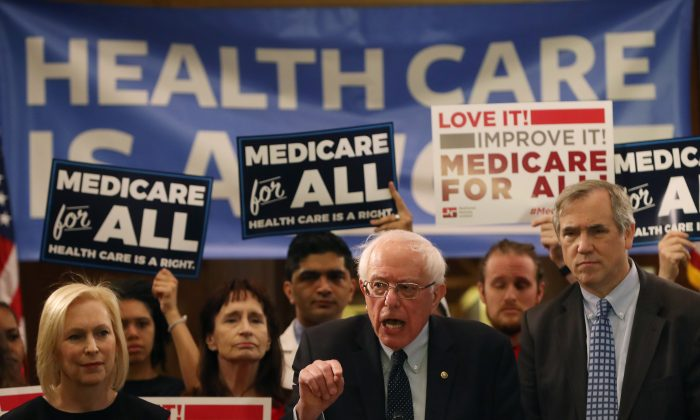 "Sen. Bernie Sanders (I-VT) introduces health care legislation titled the ""Medicare for All Act of 2019"" on Capitol Hill in Washington, DC, on April 9, 2019. (Mark Wilson/Getty Images)"