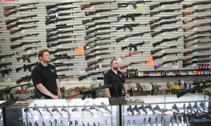 Guns are displayed inside the DSA store in Lake Barrington, Ill., on June 17, 2016. (Scott Olson/Getty Images)