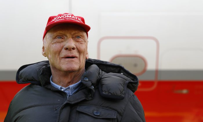 Niki Lauda poses at the airport in Duesseldorf, Germany, March 20, 2018. (Reuters/Leonhard Foeger)