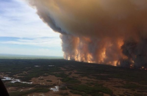 The Chuckegg Creek fire is seen from the air