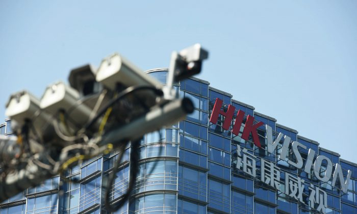 Surveillance cameras are seen near the headquarters of Chinese video surveillance firm Hikvision in Hangzhou, Zhejiang province, China May 22, 2019. (Reuters/Stringer)