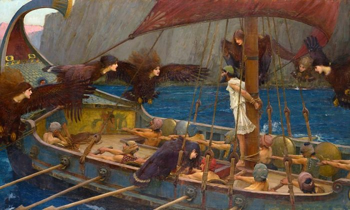 """Ulysses (Odysseus) and the Sirens,"" 1891, by John William Waterhouse, shows the Greek warrior-king bound to his ship's mast as the Sirens' song calls to him. (Public Domain)"