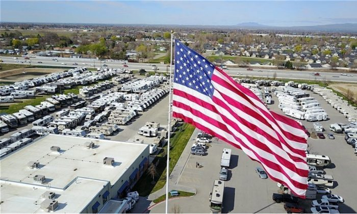 The large American flag outside Camping World and Gander RV in the city of Statesville. (Camping World petition on Change.org)