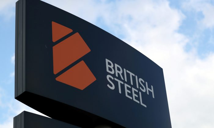 A British Steel works sign is seen in Scunthorpe, northern England, on May 21, 2019. (Scott Heppell/Reuters)