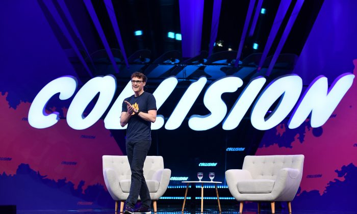 Paddy Cosgrave, CEO of Web Summit, on centre stage during the opening night of Collision 2019 at Enercare Centre in Toronto on May 20, 2019. (Sam Barnes/Collision via Sportsfile)