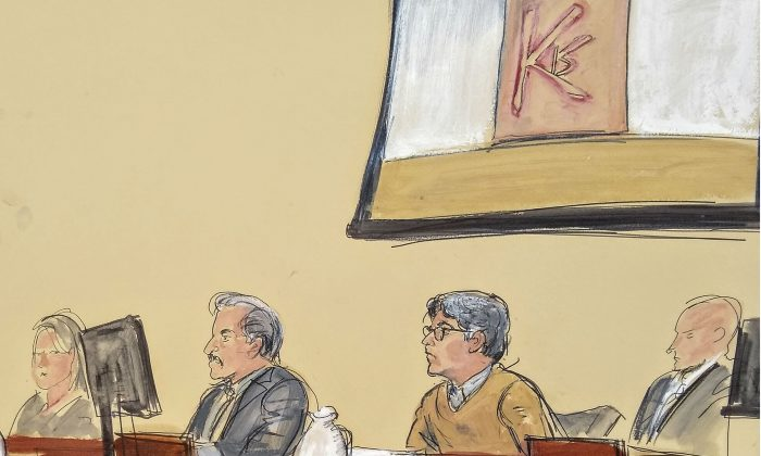 In this courtroom artist's sketch, Keith Raniere, second from right, leader of the secretive group NXIVM, attends his trial in Brooklyn federal court on May 7, 2019, in New York. (Elizabeth Williams via AP)