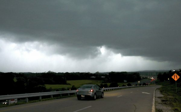 A storm front seen from Chesterfield Parkway westbound onramp to Highway 40