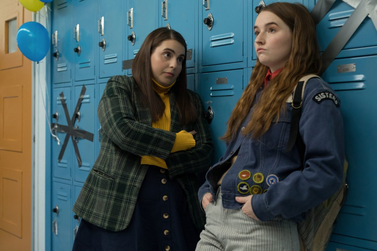 Two girls and high school lockers