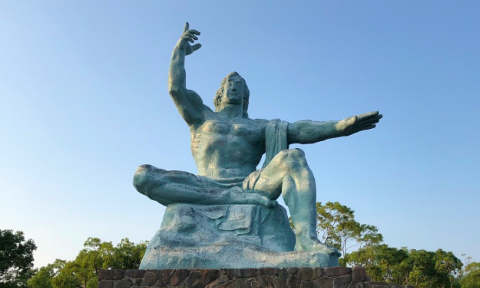 The Nagasaki Peace Statue in Peace Park, by sculptor Seibo Kitamura. (Tim Johnson)