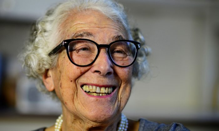 British children's writer and illustrator Judith Kerr chats as she sits in her kitchen at her home in west London, Britain on Sept. 30, 2015. (Dylan Martinez/File Photo via Reuters)
