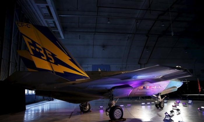 A Lockheed Martin F-35 Lightning II fighter jet is seen in its hanger at Patuxent River Naval Air Station in Maryland , U.S. on Oct. 28, 2015. (Gary Cameron/Reuters)
