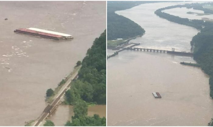 The runaway barges on the Arkansas river in Oklahoma. (OHP)