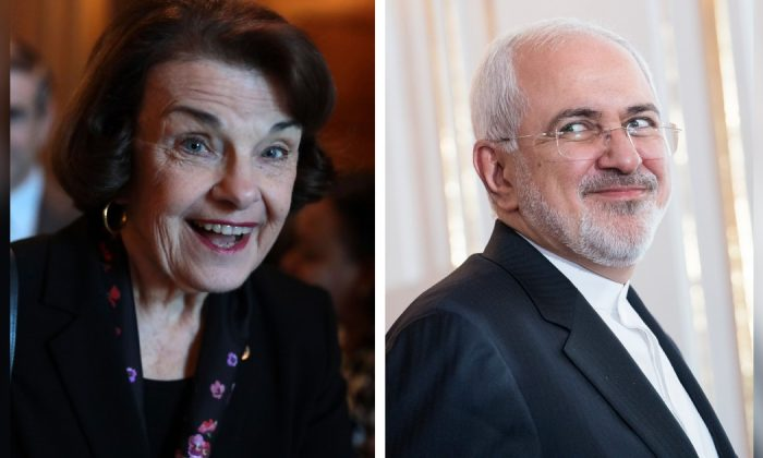 (L) Sen. Dianne Feinstein arrives at a weekly Senate Democratic Policy Luncheon at the U.S. Capitol Washington, DC. Senate in Feb. 5, 2019. (Alex Wong/Getty Images) (R) Mohammad Javad Zarif, Iran's foreign secretary at Hofburg Palace in Vienna, Austria on July 4, 2018. (Michael Gruber/Getty Images)