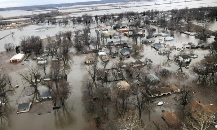 Flood damage is shown in this aerial photo in Percival, Iowa, on March 29, 2019. (Tom Polansek/Reuters)
