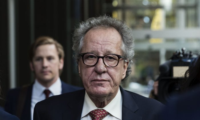 Geoffrey Rush fronts the media outside the Supreme Court of New South Wales after being awarded AUD$850,000 damages on April 11, 2019 in Sydney, Australia. (Brook Mitchell/Getty Images)