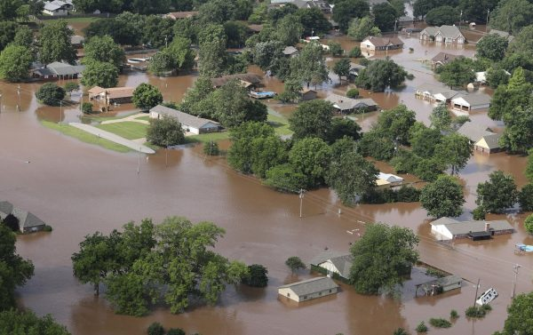 Homes are flooded near the Arkansas River