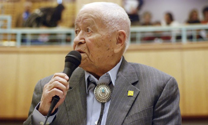 Sen. John Pinto talks about his career as a lawmaker on American Indian Day in Santa Fe, New Mexico on Feb. 2, 2018. (AP Photo/Morgan Lee, File)