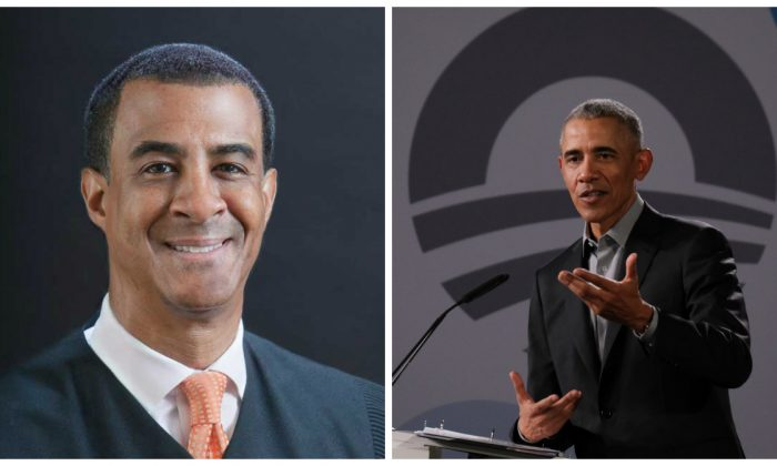 U.S. District Judge Haywood Gilliam (L) and former U.S. President Barack Obama in file photos. (U.S. District Court for the Northern District of California & Sean Gallup/Getty Images)