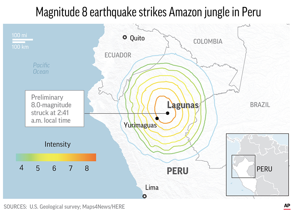 PERU EARTHQUAKE map