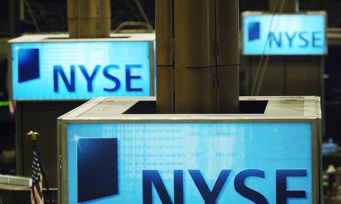 Signs inside the New York Stock Exchange (NYSE) on March 8, 2006. (Stan Honda/AFP/Getty Images)