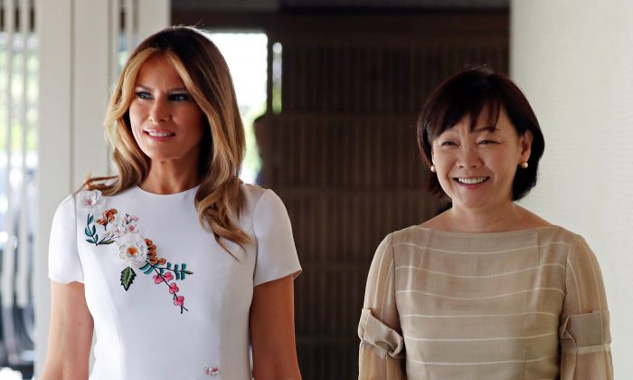 First Lady Melania Trump and Akie Abe, wife of Japanese Prime Minister Shinzo Abe, smile while walking together at Akasaka State Guest House in Tokyo, Japan on May 27, 2019.  (Athit Perawongmetha/Reuters)