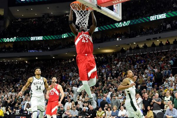 Toronto Raptors forward Pascal Siakam (43) dunks during late second half action in Game 5 of the NBA Eastern Conference final in Milwaukee against the Milwaukee Bucks on Thursday, May 23, 2019. (Frank Gunn/The Canadian Press)