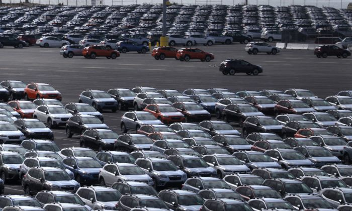 Brand new Subaru cars sit in a lot at Auto Warehousing Company near the Port of Richmond in Richmond, Calif., on May 17, 2019. (Justin Sullivan/Getty Images)