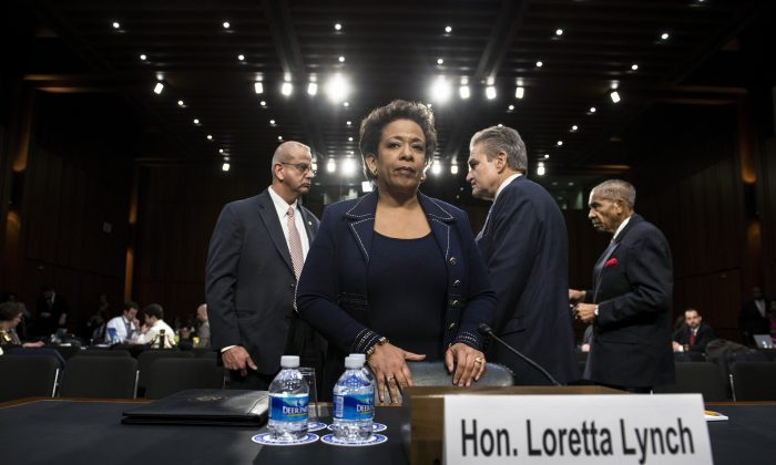 Then-Attorney General nominee Loretta Lynch during her confirmation hearing before the Senate Judiciary Committee in Washington on Jan. 28, 2015.  BRENDAN SMIALOWSKI/AFP/Getty Images