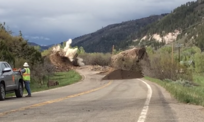 A large boulder was blasted apart on Colorado Highway 145 on May 26, 2019, officials said. (Colorado Department of Transportation)
