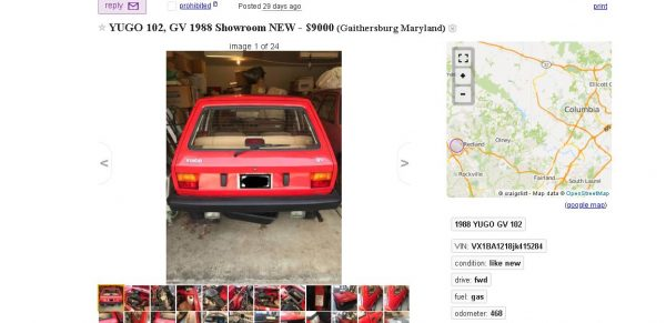 Like New' 1988 Yugo on Sale for $9,000 After Sitting in