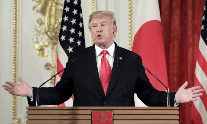 President Donald Trump speaks during a news conference with Shinzo Abe, Japan's prime minister, not pictured, at Akasaka Palace in Tokyo, Japan, on May 27, 2019. (Kiyoshi Ota - Pool/Getty Images)