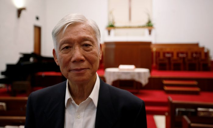 Chu Yiu-ming, one of the key organizers of Operation Yellowbird, smuggling Chinese dissidents out of China after the 1989 Tiananmen Square protests, poses after an interview, at a church, in Hong Kong, China on May 14, 2019.  (James Pomfret/Reuters)