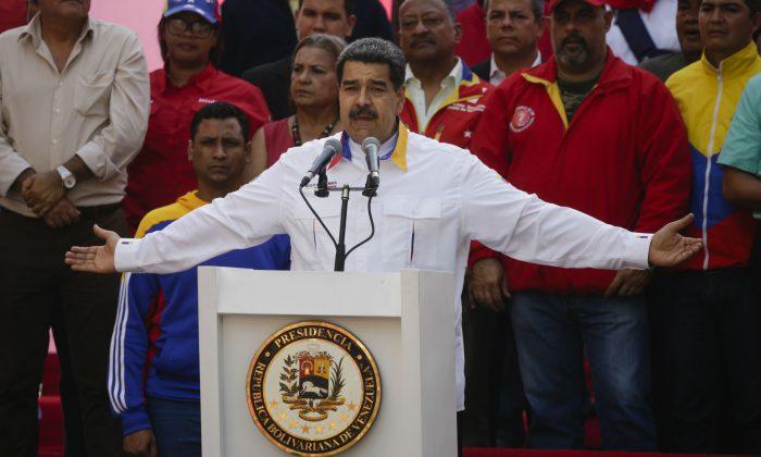 Venezuela's illegitimate dictator Nicolás Maduro speaks during a demonstration at Palacio de Miraflores in Caracas, Venezuela on May 20, 2019. (Eva Marie Uzcategui/Getty Images)