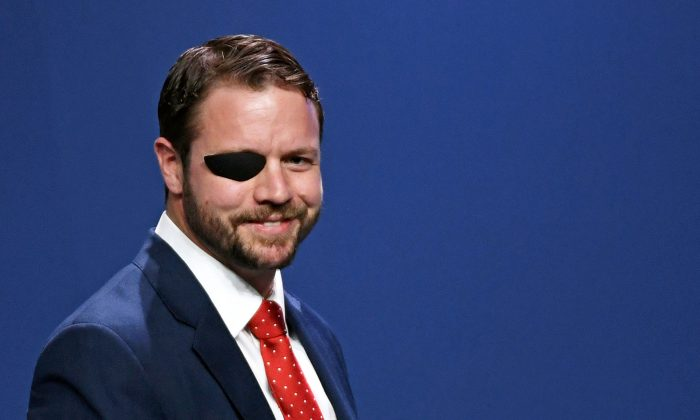 Rep. Dan Crenshaw (R-Texas) attends the Republican Jewish Coalition's annual leadership meeting at The Venetian Las Vegas in Las Vegas Nev., on April 6, 2019. (Ethan Miller/Getty Images)