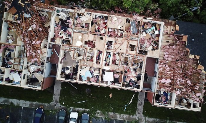 This aerial photo shows tornado damage at the Westbrooke Village Apartment complex in Trotwood, Ohio, on May 28, 2019. (Doral Chenoweth III/The Columbus Dispatch via AP)