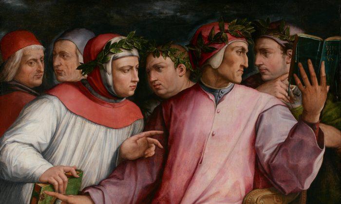 """""""Six Tuscan Poets,"""" circa 1544, by Giorgio Vasari. Pictured are (L–R) Marsilio Ficino, Cristoforo Landino, Francesco Petrarca, Giovanni Boccaccio, Dante Alighieri, and Guido Cavalcanti. The William Hood Dunwoody Fund. Minneapolis Institute of Art. (Public Domain)"""