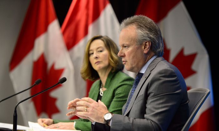 Stephen Poloz, governor of the Bank of Canada, holds a press conference with senior deputy governor Carolyn A. Wilkins in Ottawa on May 16, 2019, after the release of the bank's financial system review. On May 29, 2019, Canada's central bank held its overnight rate target at 1.75 percent. (The Canadian Press/Sean Kilpatrick)