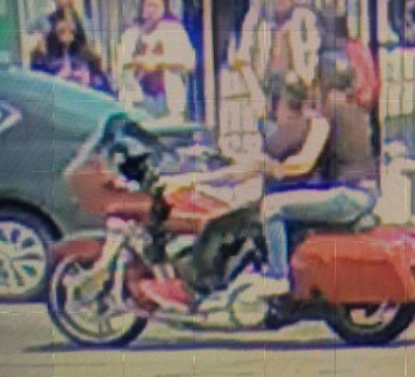 A security camera image of suspects on a motorcycle (L) and a security camera image of the passenger (R) wanted in a hit and run collision on May 26, 2019. (Toronto Police Service)