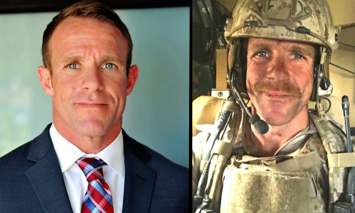 Navy SEAL Edward Gallagher in file photos. (Andrea and Edward Gallagher/File Photo via AP)