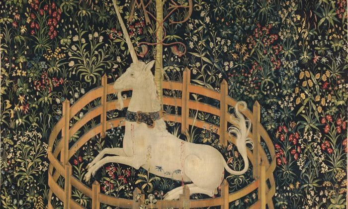 "Detail of ""The Unicorn in Captivity,"" 1495–1505, South Netherlandish. Wool warp with wool, silk, silver, and gilt wefts; 144 7/8 inches by 99 inches. Gift of John D. Rockefeller Jr., 1937, The Met Cloisters. (The Metropolitan Museum of Art )"